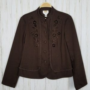 Talbots Stretch Brown Embroidered Ruffled Jacket